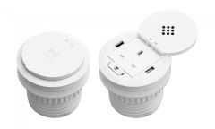 power grommet with wireless QI and USB chargers white